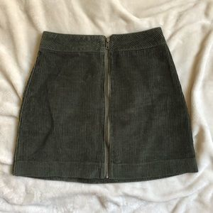 American Apparel Green Corduroy Zip-front Skirt